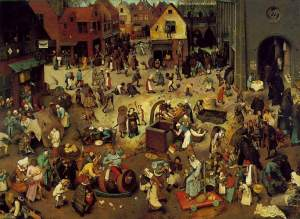 the-fight-between-carnival-and-lent Peter Bruegel den äldre